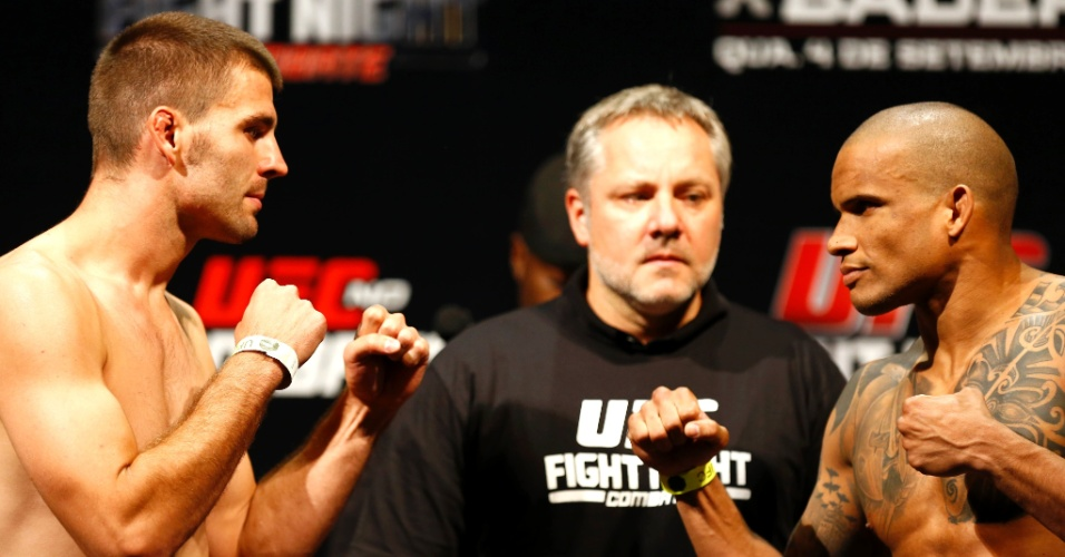 3.set.2013 - Keith Wisniewski e Ivan Batman se encaram na pesagem para o UFC BH