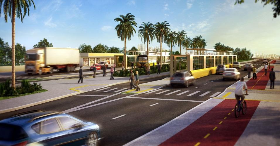 Projeto mostra como devem ficar estações do BRT de Porto Alegre; operação só em outubro de 2014