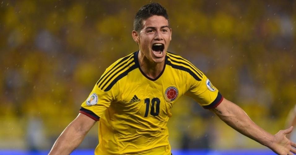 06.set.2013 - James Rodriguez comemora após marcar o gol da vitória por 1 a 0 da Colômbia sobre o Equador em partida das eliminatórias da Copa-2014