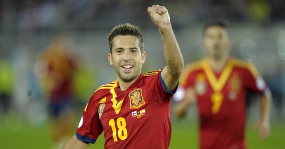 06.set.2013 - Jordi Alba, lateral da seleção espanhola, comemora depois de marcar o primeiro gol da partida contra a Finlândia pelas eliminatórias da Copa-14; Espanha venceu por 2 a 0