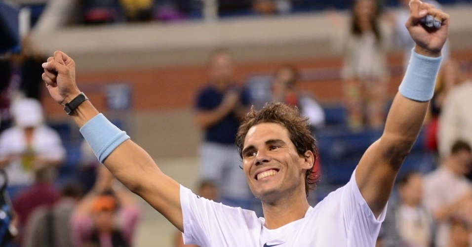 07.set.2013 - Tenista espanhol Rafael Nadal comemora após vencer o francês Richard Gasquet e se classificar para a final do Aberto dos EUA