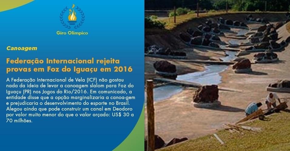 Federação Internacional rejeita provas em Foz do Iguaçu em 2016
