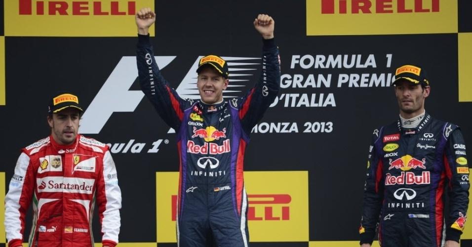 Pódio do GP de Monza teve Vettel como vencedor, Alonso em 2º e Webber em 3º