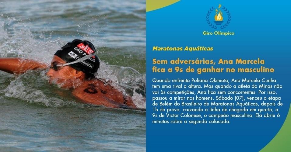 Sem adversárias, Ana Marcela fica a 9s de ganhar no masculino