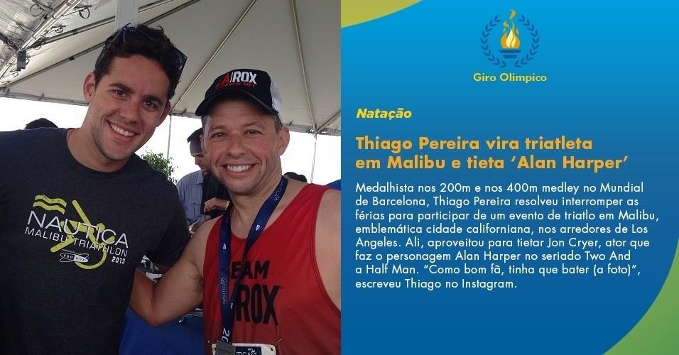 Thiago Pereira vira triatleta em Malibu e tieta Alan Harper