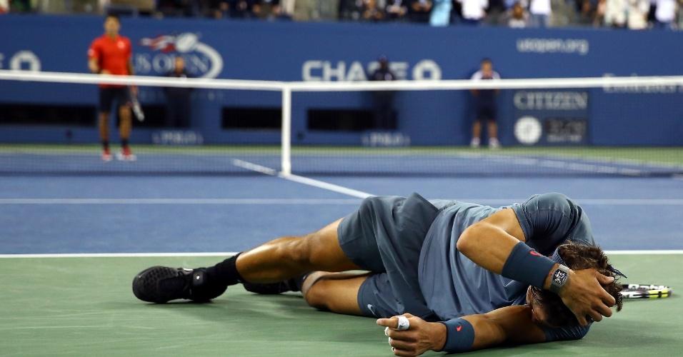 09.09.2013 - Rafael Nadal desaba após vencer o sérvio Novak Djokovic na final do US Open