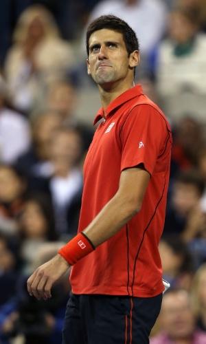09.set.2013 - Djokovic faz bico após ser derrotado pelo espanhol Rafael Nadal na final do US Open