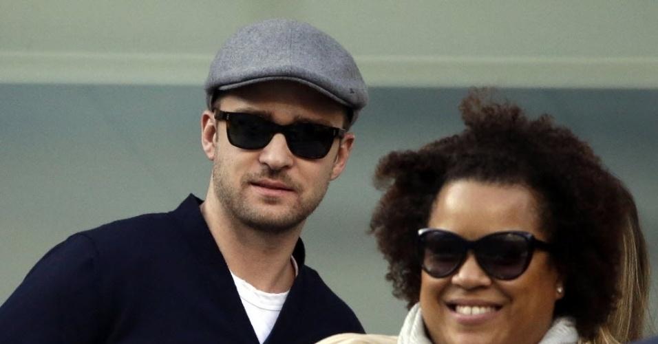 09.set.2013 - Justin Timberlake foi ver a decisão do Aberto dos Estados Unidos em Flushing Meadows