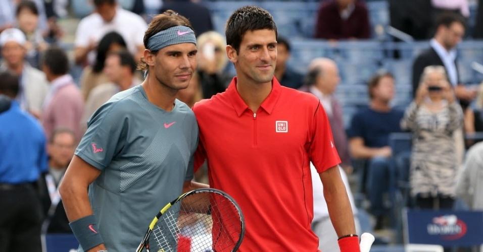 09.set.2013 - Novak Djokovic e Rafael Nadal, os dois primeiros do ranking mundial de tênis, disputam a decisão do Aberto dos Estados Unidos