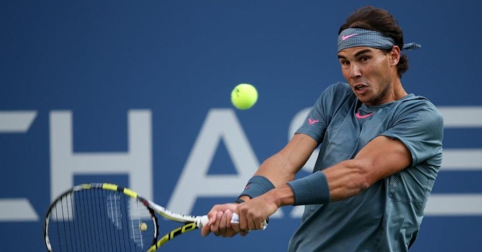 09.set.2013 - Número 2 do mundo, Rafael Nadal enfrenta Novak Djokovic, líder do ranking, na decisão do Aberto dos Estados Unidos de 2013