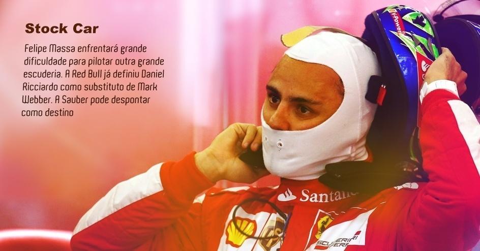 Felipe Massa enfrentará grande dificuldade para pilotar outra grande escuderia. A Red Bull já definiu Daniel Ricciardo como substituto de Mark Webber. A Sauber pode despontar como destino.