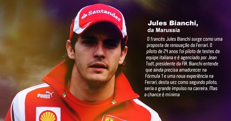 O francês Jules Bianchi surge como uma proposta de renovação da Ferrari. O piloto de 24 anos foi piloto de testes da equipe italiana e é agenciado por Jean Todt, presidente da FIA. Bianchi entende que ainda precisa amadurecer na Fórmula 1 e uma nova experiência na Ferrari, desta vez como segundo piloto, seria o grande impulso na carreira. Mas a chance é mínima.