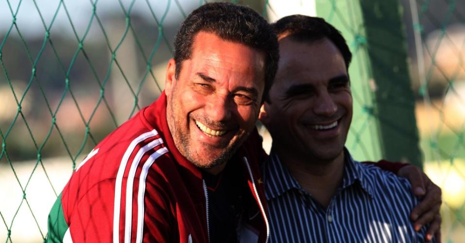 O técnico do Fluminense Vanderlei Luxemburgo e o diretor de futebol Rodrigo Caetano