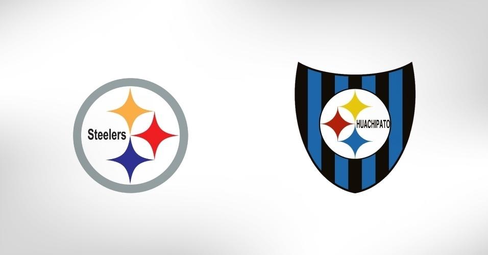 """A relação entre o Huachipato, do Chile, e a equipe de futebol americano da NFL Pittsburgh Steelers está no aço (steel, em inglês): os chilenos são conhecidos como """"Los Acereros"""" (?os do aço), e as três """"estrelas"""" coloridas representam os matérias que produzem o metal: ferro (azul), carvão (amarelo) e mineral ferroso (laranja)"""