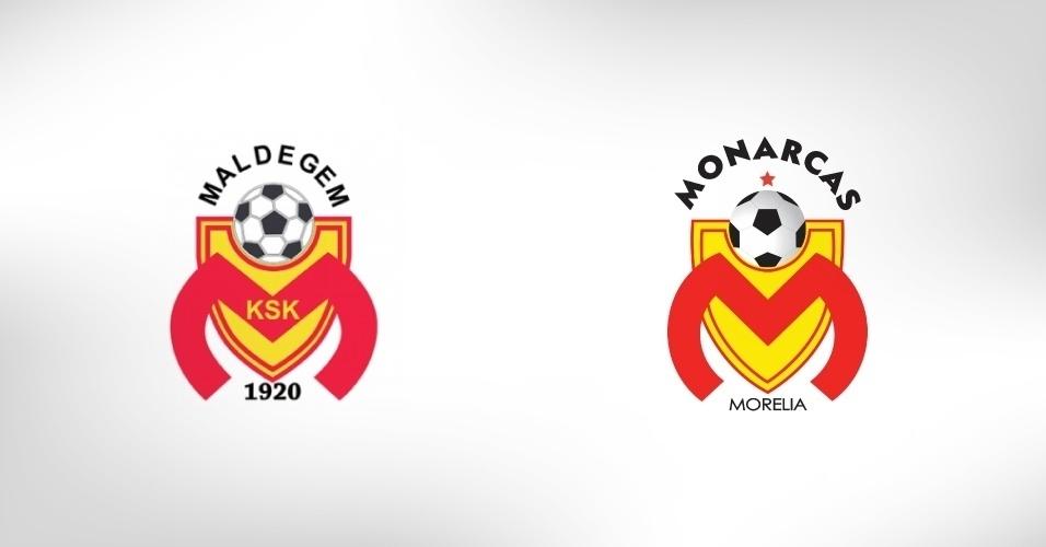 O Monarcas Morelia, do México, e o pequeno Maldegem, da Bélgica, possuem escudos exatamente iguais. Os belgas, que foram copiados, dizem que admiram a homenagem