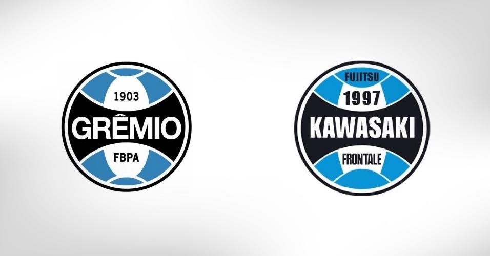 Os japoneses do Kawasaki Frontale surgiram em 1997 e, como o Grêmio havia disputado o Mundial de 1995 no Japão, acabaram por homenagear a equipe gaúcha: as cores são as mesmas e o escudo, por muito tempo, foi uma cópia do time brasileiro