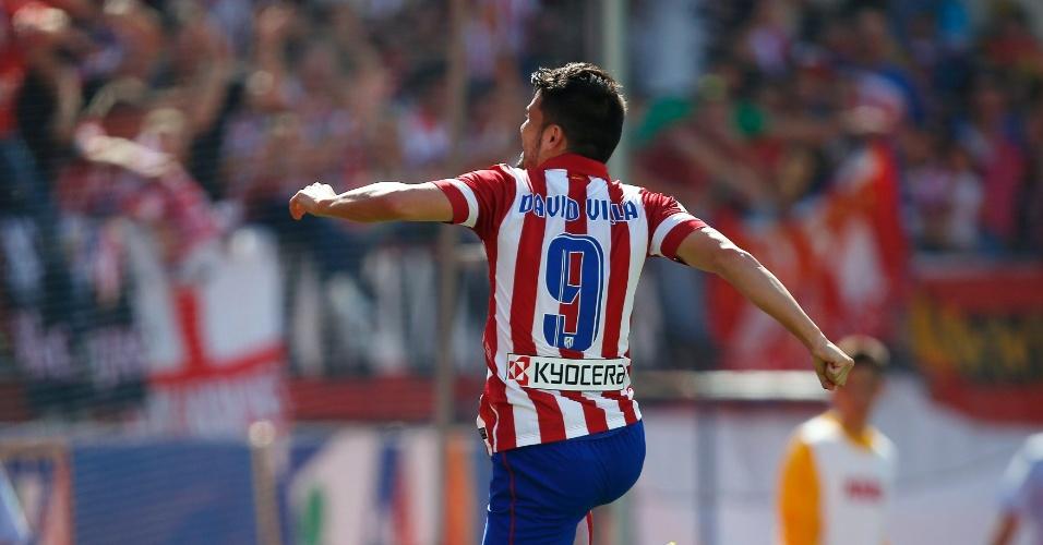 14.09.2013 - David Villa comemora o gol marcado contra o Almeria pelo Campeonato Espanhol