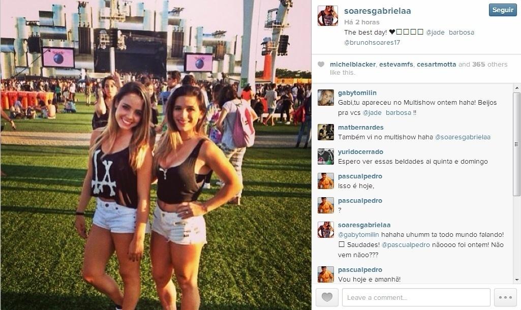 As ginastas Gabriela Soares e Jade Barbosa foram juntas curtir os shows do Rock in Rio