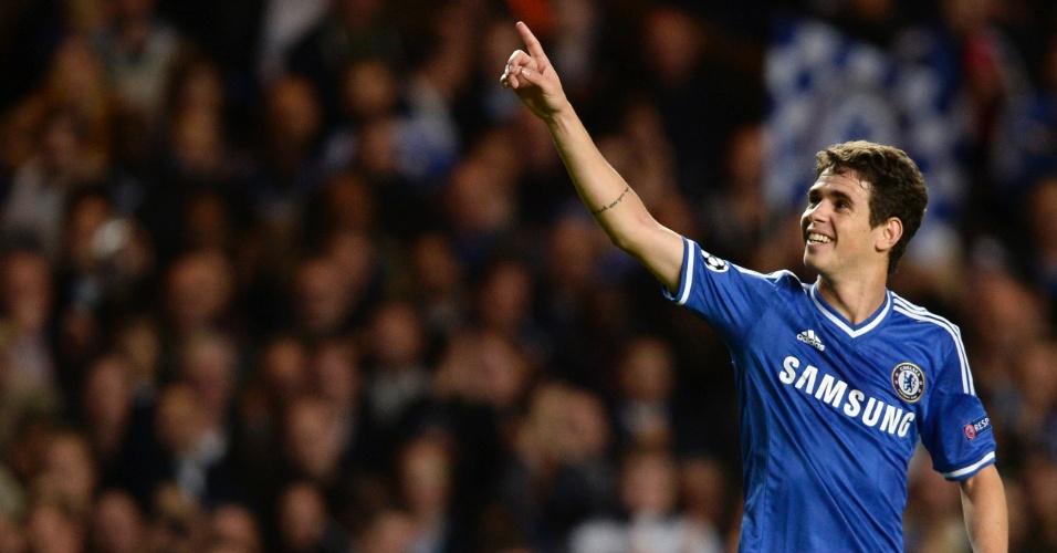 18.set.2013 - Oscar comemora gol na derrota do Chelsea por 2 a 1 para o Basel