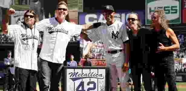 A lenda do beisebol Mariano Rivera, na despedida do New York Yankees, recebeu o Metallica - Maddie Meyer/Getty Images