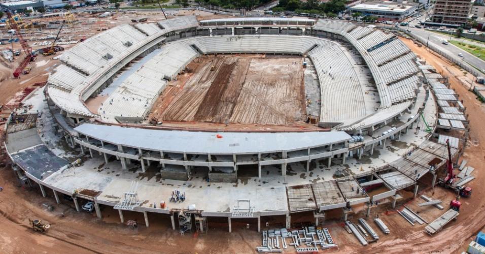 12/jun/2013 - Vista aérea da Arena das Dunas, que vai receber quatro jogos da Copa do Mundo