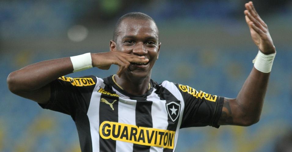 Hyuri comemora gol diante do Corinthians, que deu vitória ao Botafogo, no Maracanã