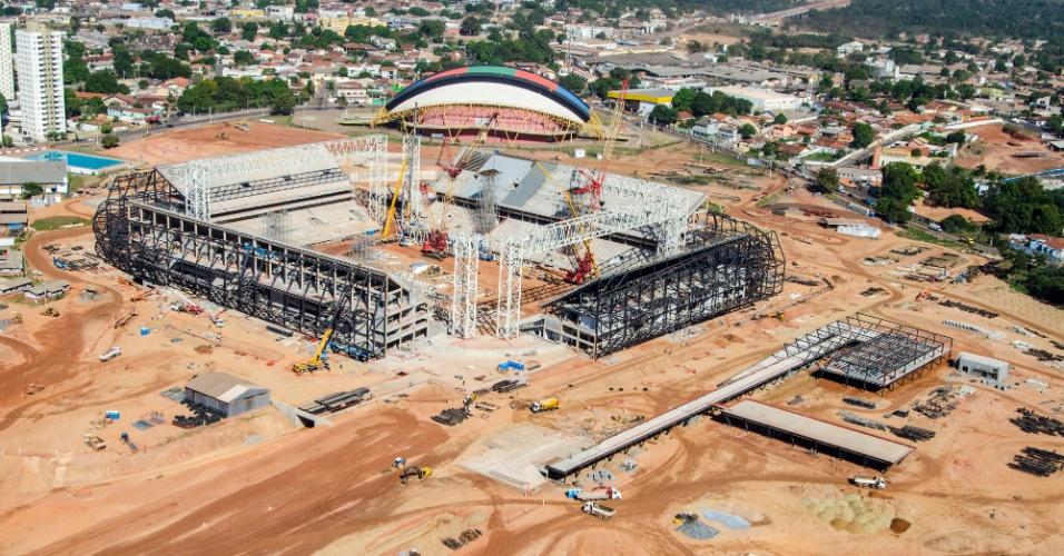 09.jul.2013 - Arena Pantanal, em Cuiabá, atinge 74% das obras, segundo governo do Mato Grosso