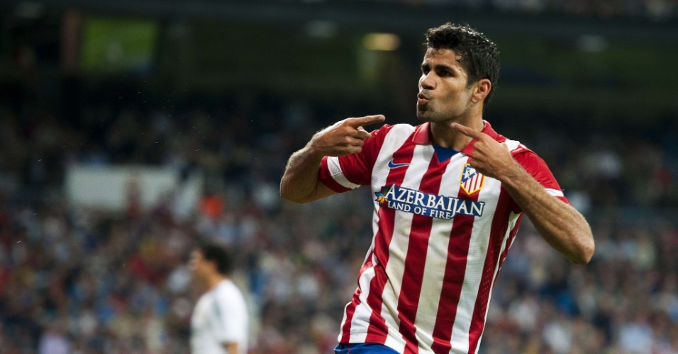 28.set.2013 - Diego Costa abre o placar para o Atlético de Madrid contra o Real Madrid