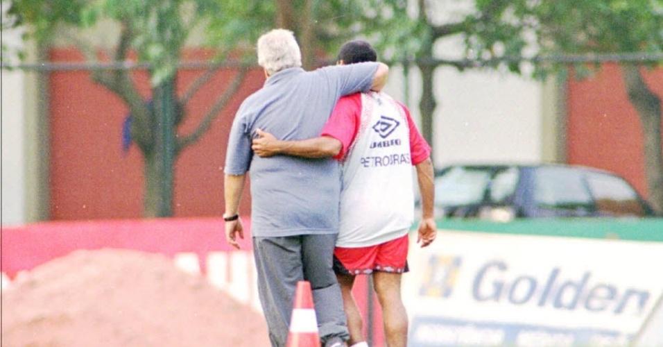 Washington Rodrigues e Romário, em 1995, no Flamengo