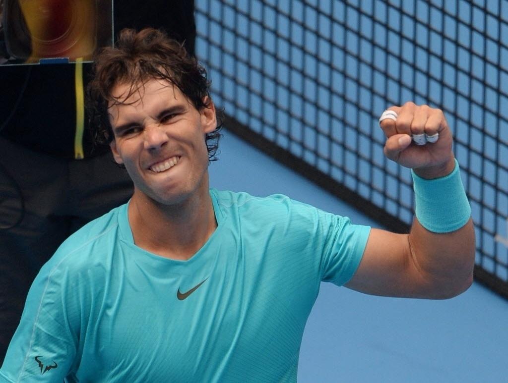 04.out.2013 - Rafael Nadal vibra após derrotar Fabio Fognini nas quartas de Pequim