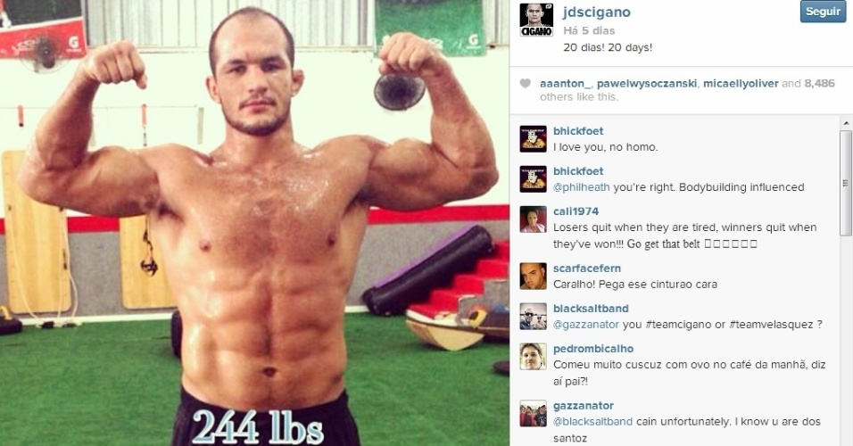 Cigano mostra o preparo físico em dia em foto tirada 20 dias antes de encarar Cain Velásquez e pesando 110 kg