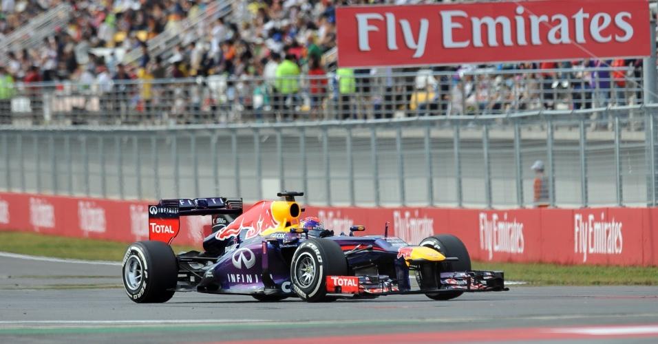 05.out.2013 - Red Bull de Sebastian Vettel durante treino de classificação na Coreia