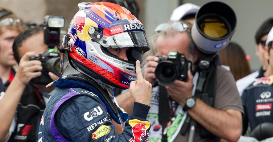 05.out.2013 - Sebastian Vettel faz comemoração típica após pole position para GP da Coreia