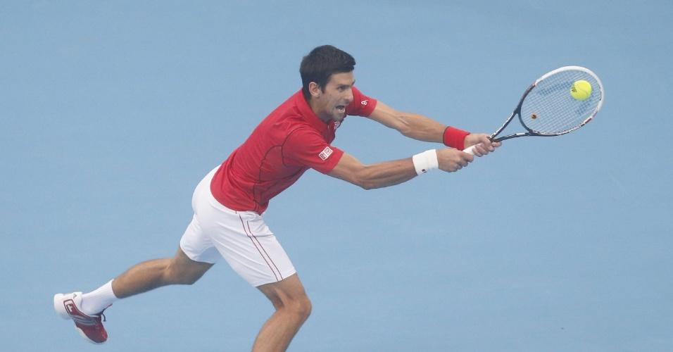 06.10.2013 - Djokovic faz careta na final do ATP 500 de Pequim, onde venceu Nadal na final