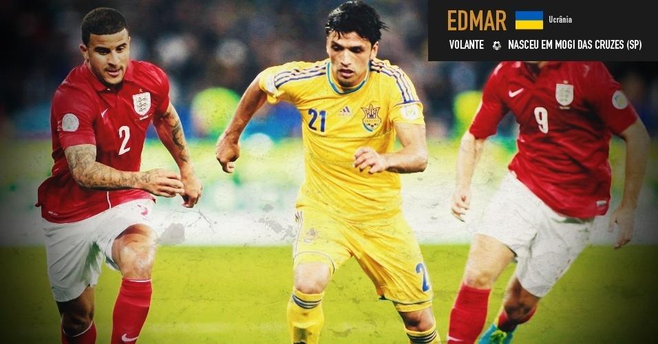 Edmar: volante nasceu em Mogi das Cruzes (SP) e joga pela seleção da Ucrânia
