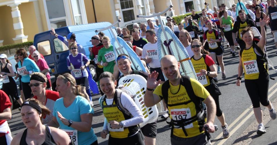 A equipe de Phil durante uma maratona