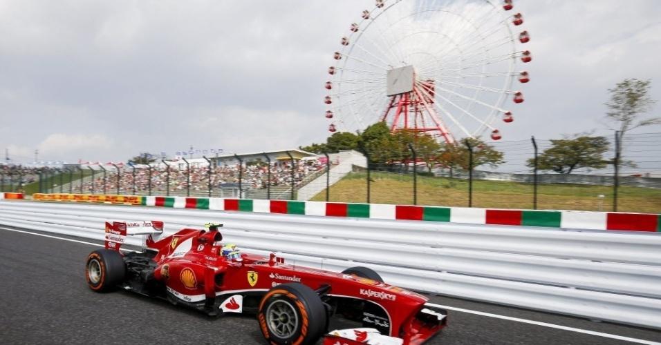 12.out.2013 - Felipe Massa passa por roda gigante durante o treino classificatório em Suzuka