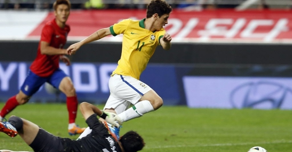 Oscar dribla o goleiro para marcar o segundo gol do Brasil no jogo. Meia recebeu lindo passe de Paulinho na jogada que resultou no gol