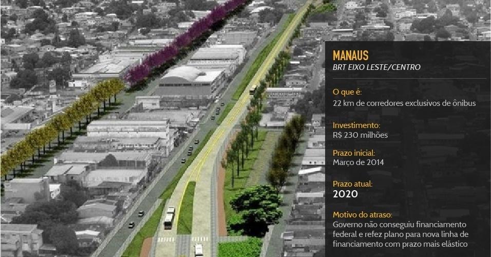Corredor de ônibus de Manaus, previsto para 2014, deverá ficar pronto em 2020, seis anos depois do prometido