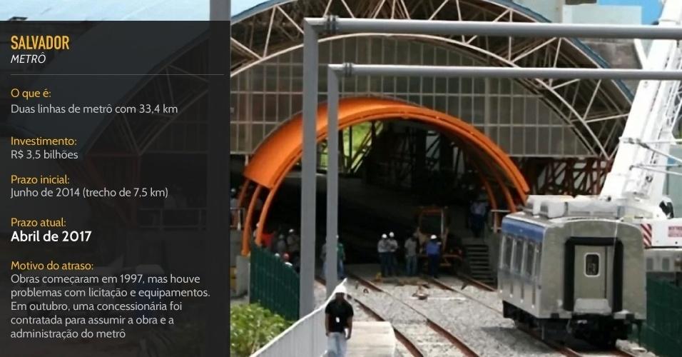 Em obras desde 1997, metrô de Salvador ficará inteiramente pronto em 2017, quase três anos após o Mundial