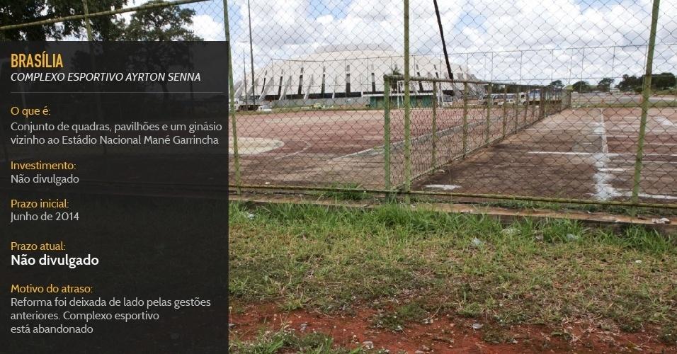 Reforma de conjunto de quadras, pavilhões e um ginásio vizinho ao Estádio Nacional Mané Garrincha não tem previsão de entrega