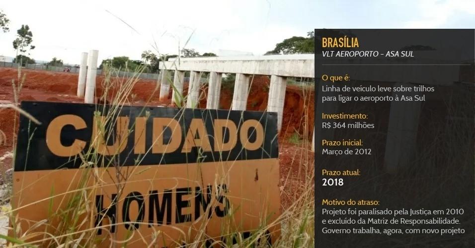 VLT de Brasília, que deve ligar o aeroporto à Asa Sul, teve projeto revisto e deve ser inaugurado em 2018, quatro anos após a Copa