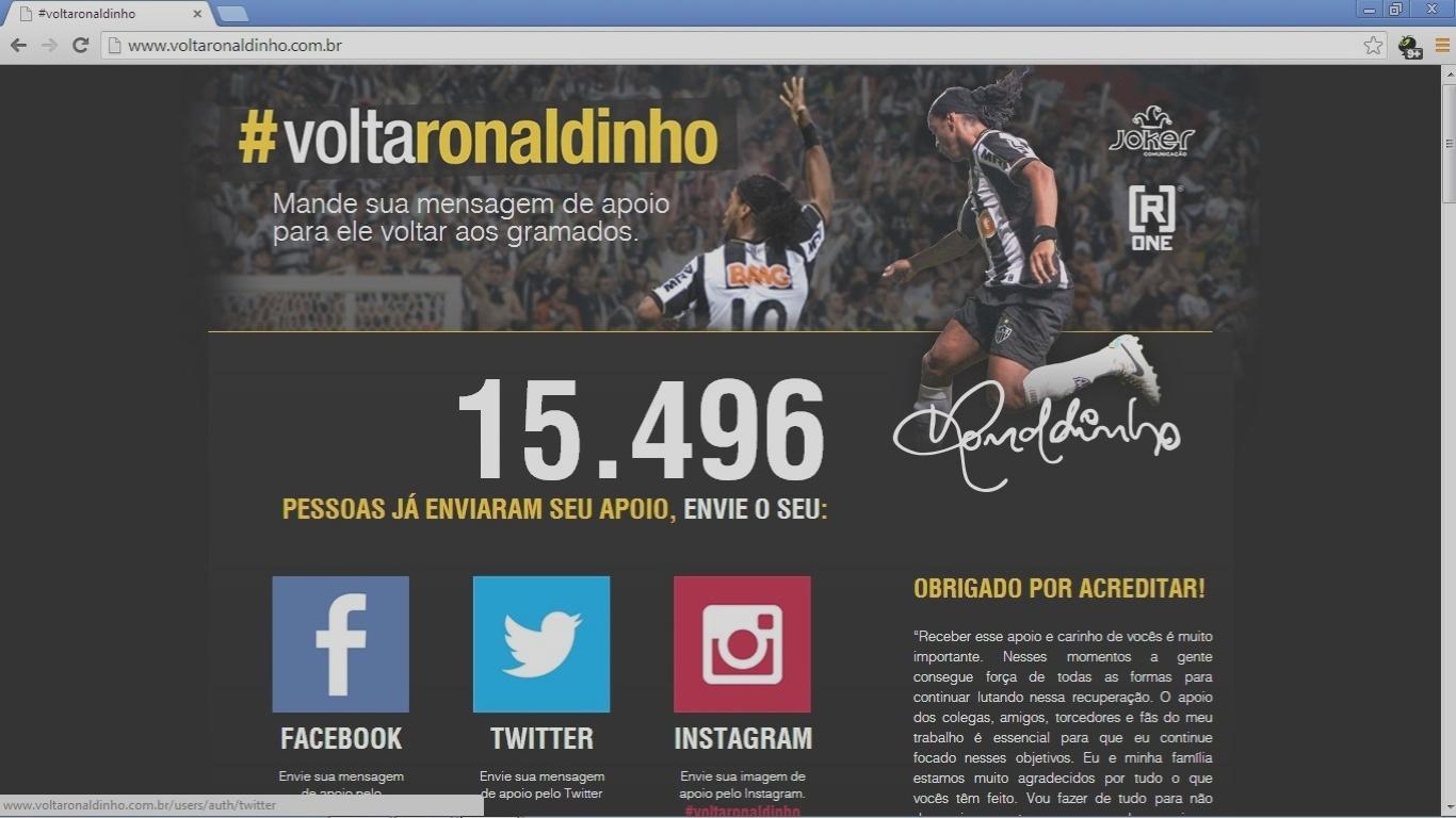 19 outubro 2013 - Ronaldinho Gaúcho acompanha por meio de um site especialmente criado as mensagens de apoio à sua recuperação