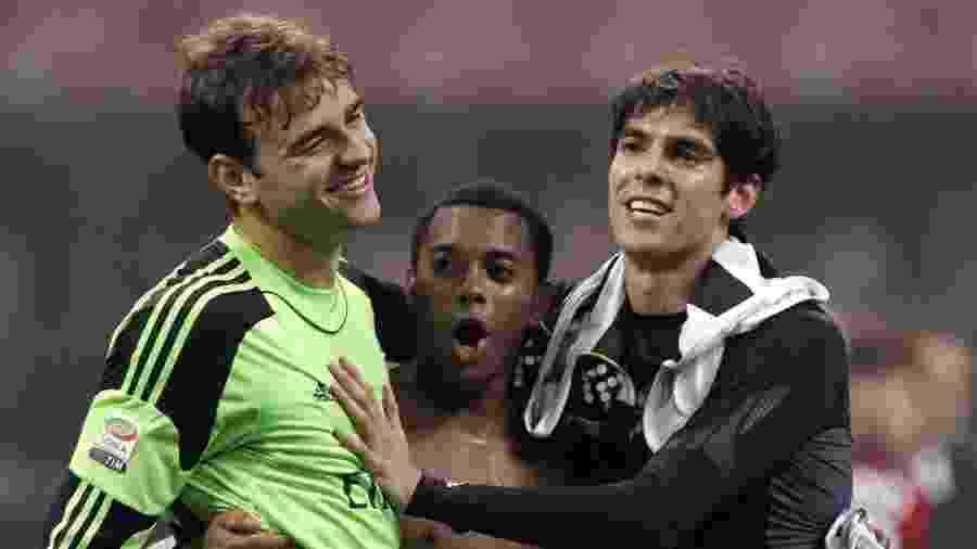 Gabriel (à esquerda) jogou com Robinho e Kaká no Milan. Hoje, ele defende o Lecce - REUTERS/Alessandro Garofalo
