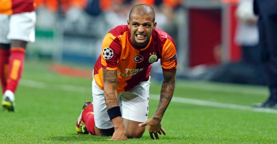 23.10.2013 - Felipe Melo comemora seu gol marcado pelo Galatasaray contra o Copenhagen pela Liga dos Campeões