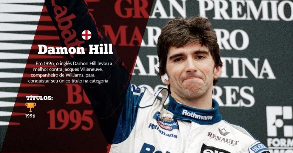 Damon Hill (Inglaterra) - 1 título ? 1996 - Em 1996, o inglês Damon Hill levou a melhor contra Jacques Villeneuve, companheiro de Williams, para conquistar seu único título na categoria