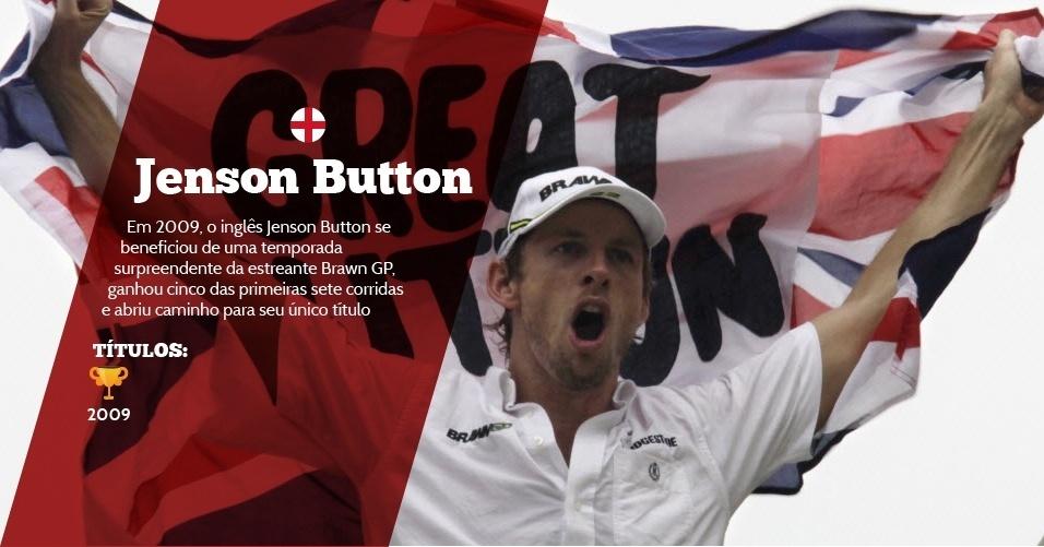 Jenson Button (Inglaterra) - 1 título ? 2009 - Em 2009, o inglês Jenson Button se beneficiou de uma temporada surpreendente da estreante Brawn GP, ganhou cinco das primeiras sete corridas e abriu caminho para seu único título