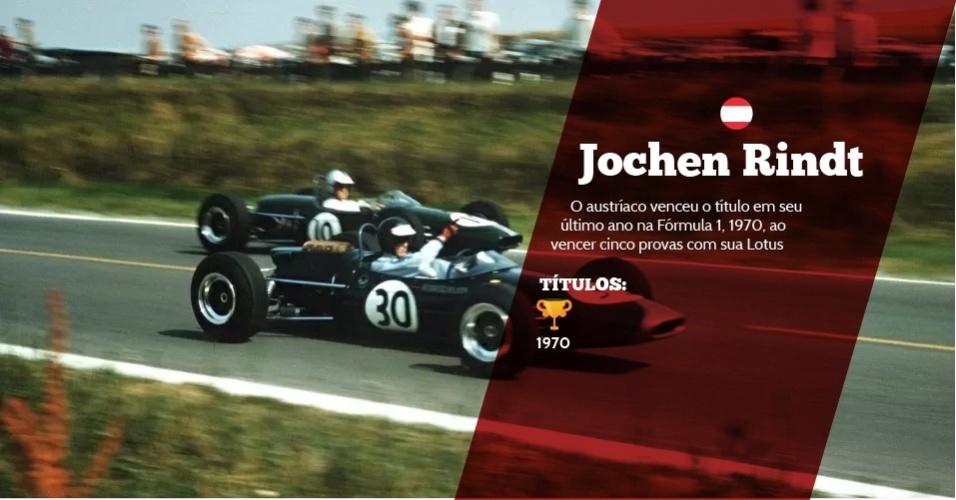 Jochen Rindt (Áustria) - 1 título ? 1970 - O austríaco venceu o título em seu último ano na Fórmula 1, 1970, ao vencer cinco provas com sua Lotus