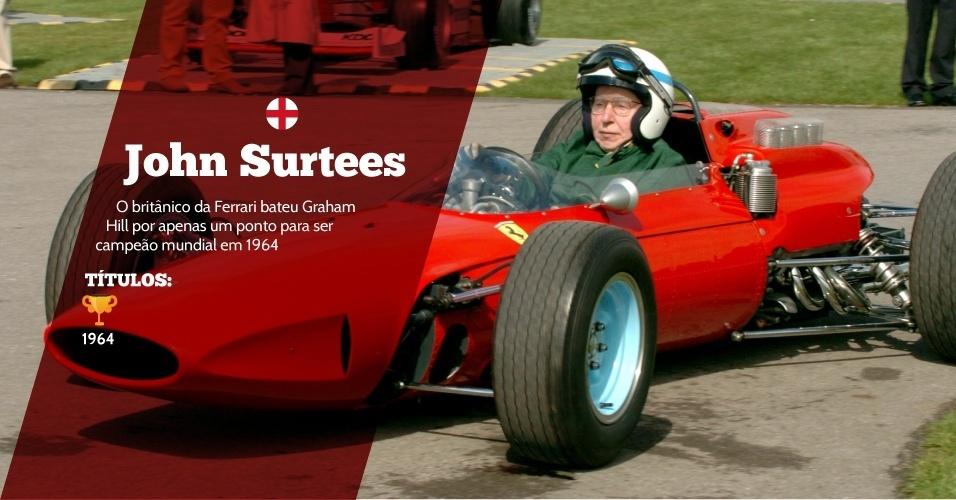 John Surtees (Inglaterra) - 1 título ? 1964 - O britânico da Ferrari bateu Graham Hill por apenas um ponto para ser campeão mundial em 1964