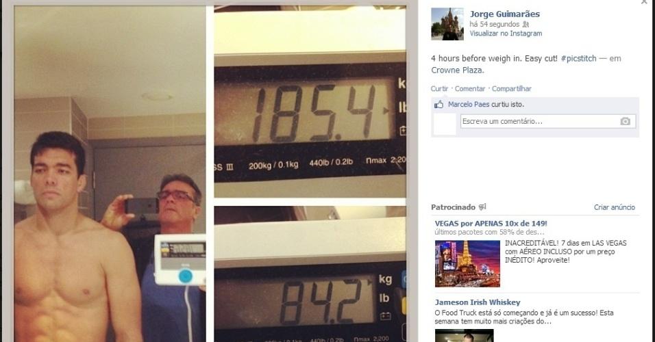 Lyoto Machida sobe na balança já no peso, quatro horas antes da pesagem do UFC em que estreará na categoria médio, até 84 kg. Ele competia anteriormente no meio-pesado, até 93 kg